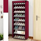USA 9 Tier 30 Pairs Shoe Rack Tower Cabinet with Cover Organizer Storage Shelf