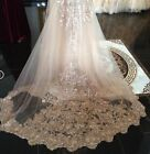 Lace Sequins Wedding Veil With Comb White Ivory Cathedral Length Champagne 1Tier