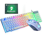 Rainbow LED PC Gaming Keyboard Mouse Pad Combo Multi-Colored Changing Backlight