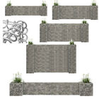 Metal Gabion Baskets Outdoor Cages Stone Wire Mesh Planter Multi sizes Silver