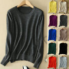 Women Cozy Crew Neck Cashmere Sweater Elasticity Knitted Pullover Slim Fit Wool