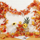 180cm Artificial Autumn Fall Maple Leaves Garland Hanging Plant Home Decor Uk.