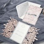 Invitations Cards Wedding Supply Laser Floral Gold Glittery High-end Pink 10 Pcs
