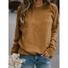 Women Casual T Shirt Long Sleeve Crew Neck Loose Blouse Solid Tunic Basic Tops
