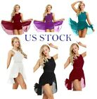 US Women Ballet Leotard Dress Chiffon Gymnastics Performance Cosutme Dancewear