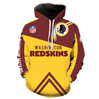 Washington Redskins printed Pullover Pocket Casual Unsex Hoodies S-3XL