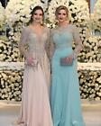 Luxury Crystal Sequins Mother of the Bride Dresses Long Sleeves V Neck Prom Gown