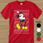 New Disney Mickey Mouse Heather Red Christmas Ugly Sweater Mens T-Shirt