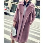 Womens Oversized Faux Mink Fur Thicken Winter Lapel Casual Parka Trench Overcoat