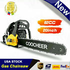 COOCHEER 62CC 20 Gas Chainsaw Handed Petrol Chain Woodcutting 2 Cycle 4HP B 144