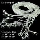 10Pcs 16-28 inches 925 Sterling Solid Silver Snake Chain Necklace Wholesale Gift