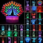 3D illusion Night Light LED Table Desk Lamp 7 Colour Change Birthday Xmas Gift