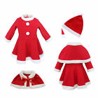 Baby Girls Christmas Santa Claus Costume Fancy Dress with Shawl Hat Outfit Set