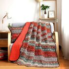 NEWLAKE Quilt Throw Blanket with Classical Floral Patchwork, Orange Jacquard, 60