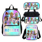 Roblox Girls Rainbow Kids Bookbag Backpack Insulated Lunch Bag Pen Case Lot Gift
