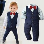 Kids Outfits Baby Boy Gentleman Vest Shirt Tops Pants necktie 4PCS Clothes Set