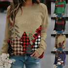 Women Christmas Crew Neck Long Sleeve Pullover Casual Print Blouse Loose Fit Top