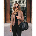 Womens Casual Long Sleeve Solid Leather Coat Zipper Slim Windproof Suit Jacket