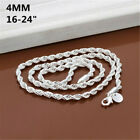 925 Sterling Solid Silver 4mm Snake Rope Chain Men Jewelry Necklace 16-26 Inch