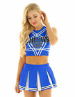 US Womens Sexy Cheer Leader Costume Uniform Crop Top Mini Pleated Skirt Outfits