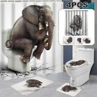 Elephant Shower Curtain Bathroom Set Flannel Mat Toilet Lid Cover Pedestal Rug
