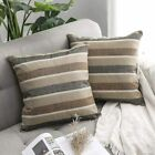 MIULEE Pack of 2 Decorative Classic Retro Stripe Throw Pillow Covers Linen Moder