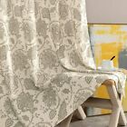 Floral Scroll Printed Linen Curtains, Grommet Top - Ikat Flax Textured Medallion