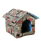 Fashion PU Leather Dog Bed Home Shape Pet House Floral Kennel for Small Dog
