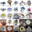 Fashion Rose Flower 925 Silver Jewelry Wedding Ring For Women Rings Gift Sz 6-10