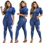 Fashion Clubwear Women Denim Turn Down Collar Puff Sleeve Bodycon Long Jumpsuit