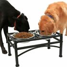Dual Elevated Raised Pet Dog Cat Feeder Bowls Stainless Steel Food Water Stand ~