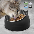 15°Tilted Pet Dog Cat Bowls w/Stand Stainless Steel Food Water Dish Feeder 400ml