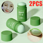2x Green Tea Purifying Clay Stick Mask,Oil Control Anti-Acne Eggplant Fine Solid