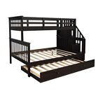 Twin-Over-Full Bunk Bed with Twin size Trundle and Guard Rail For Kids Adult