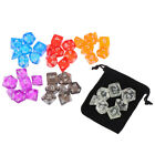 Colour 7 Piece Polyhedral Set Cloud Drop Translucent Teal RPG DnD With Dice QW