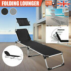 Sun Lounger Canopy Folding Reclining Chair Outdoor Beach Patio Garden Chaise UK