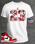 T Shirt to Match AIR JORDAN 1 MID CHICAGO BLACK TOE New Free Shipping