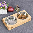 Double Bowls Stand Pet Cat Puppy Stainless Steel Feeding Station Food Water