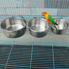 Dog Cat Stainless Steel Parrot Bird Hanging Bowl Feeding Cage Water Foods Dishs