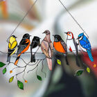 Acrylic Stained Glass Birds on a Wire Window Panel Hanging Sun Catcher Hardware