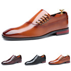 British Mens Leather Shoes Business Work Slip on British Pointy Toe Dress Formal