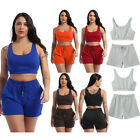 Women Summer Casual Sportswear Outfit Cropped Tank Top with Drawstring Shorts