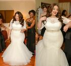 Brides Mermaid Weddings Dress Plus Size Sashes Beaded Sheer Scoop Neck Appliqued