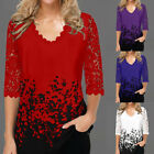 Women Ladies Hollow Out T Shirt Floral V Neck Pullover Blouse Half Sleeve Tops