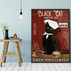 Black cat coffee co poster Cat coffee art Cat Smoke Poster Wall Decoration