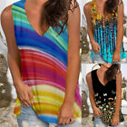 Summer Blouse Vest T Shirt Sleeveless Top Floral Tank Top Casual Printed Tees US