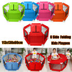Foldable Baby Children Kid Playpen 6 Sides with Round Zipper Door Play