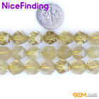 Natural Gemstone Faceted Yellow Quartz Crystal Beads For Jewelry Making 15""