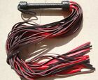 HEAVY LONG THUDDY BLACK RED GRAIN Leather Flogger 36 Tails Rugged Horse Trainer