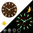 New 12 Inch Luminous Wall Clock Wooden Silent Mordern Household Article Indoor